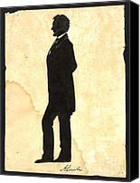 Padre Art Canvas Prints - Abraham Lincoln Silhouette 1860 Canvas Print by Padre Art