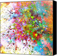 Ann Powell Canvas Prints - abstract art COLOR SPLASH on Square Canvas Print by Ann Powell