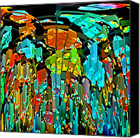 Karen Adams Canvas Prints - Abstract Color Falls 2 Canvas Print by Karen Adams