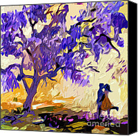 Fushia Canvas Prints - Abstract Jacaranda Tree Lovers Canvas Print by Ginette Callaway