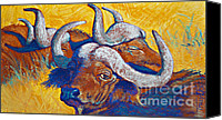 Cattle Pastels Canvas Prints - African Sun Canvas Print by Tracy L Teeter