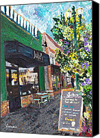 Aromatic Painting Canvas Prints - Alameda Julies Coffee Garden Canvas Print by Linda Weinstock