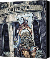 Science Fiction Tapestries Textiles Special Promotions - Alien Outpost Canvas Print by Jutta Maria Pusl