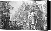 Ruin Drawings Canvas Prints - Allegorical Frontispiece of Rome and its history from Le Antichita Romane  Canvas Print by Giovanni Battista Piranesi