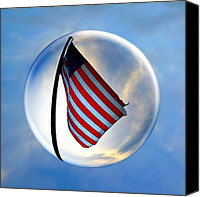 Stars Photo Special Promotions - American FlagIn a Bubble Canvas Print by Amyn Nasser