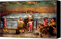 Mike Savad Canvas Prints - Americana - People - Jewish Families Canvas Print by Mike Savad