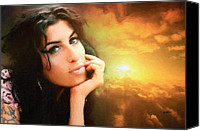Award Digital Art Canvas Prints - Amy Winehouse Canvas Print by Anthony Caruso