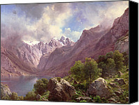 Featured Canvas Prints - An Alpine Lake Canvas Print by Karl Millner