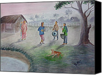 Dogs Special Promotions - An evening at a village in West Bengal Canvas Print by G G Abendas