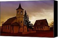 Old Mills Canvas Prints - An Old Church In Williston North Dakota  Canvas Print by Jeff  Swan