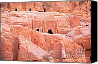 Arabic Canvas Prints - Ancient buildings in Petra Canvas Print by Jane Rix