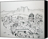 Bronze Drawings Canvas Prints - Ancient City Canvas Print by Janice Rae Pariza