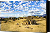 Mark Tisdale Canvas Prints - Ancient Ruins Of A Zapotec Temple Canvas Print by Mark E Tisdale