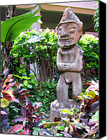 Polynesian Pop Canvas Prints - Ancient Tiki Statue Canvas Print by Joel Fletcher