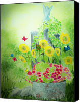 Angel Blues  Painting Canvas Prints - Angel with Butterflies and Sunflowers Canvas Print by Melanie Palmer