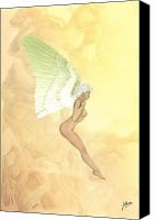 Realistic Art Canvas Prints - Angelita golden Canvas Print by Joaquin Abella Ojeda