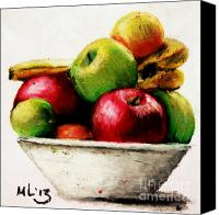 Featured Pastels Canvas Prints - Another Fruit Bowl Canvas Print by Maria  Leah