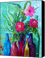 Italian Canvas Prints - Antique Bottles and Fresh Flowers Canvas Print by Eloise Schneider