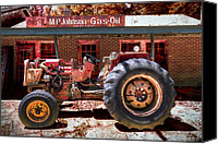 Red Tractors Canvas Prints - Antique Tractor Canvas Print by Debra and Dave Vanderlaan