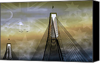 Landmarks Canvas Prints - Anzac Bridge Canvas Print by Holly Kempe