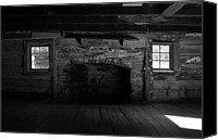 Log Cabin Art Canvas Prints - Appalachian fireplace Canvas Print by David Lee Thompson