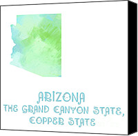 Abstract Map Mixed Media Canvas Prints - Arizona - The Grand Canyon State - Copper State - Map - State Phrase - Geology Canvas Print by Andee Photography