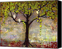 Couple Painting Canvas Prints - Art Tree Print Owl Landscape Canvas Print by Blenda Tyvoll