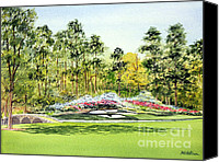 Augusta Golf Painting Canvas Prints - Augusta National 12Th Hole Canvas Print by Bill Holkham