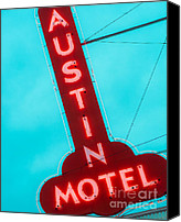 Sonja Quintero Canvas Prints - Austin Motel Sign Canvas Print by Sonja Quintero