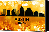 Austin Mixed Media Canvas Prints - Austin TX 3 Canvas Print by Angelina Vick