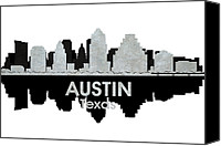 Austin Mixed Media Canvas Prints - Austin TX 4 Canvas Print by Angelina Vick