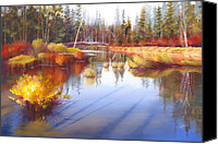 State Park Painting Canvas Prints - Autumn Fall River II Canvas Print by Pat Cross