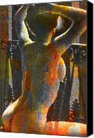 Female Mixed Media Special Promotions - Balcony Nude Canvas Print by Michael Knight