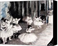 Featured Pastels Canvas Prints - Ballet Rehearsal on Stage by Edgar Degas Canvas Print by Maria  Leah