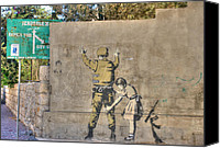 David Birchall Canvas Prints - Banksy in Bethlehem Canvas Print by David Birchall
