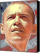 Barack Obama Art Prints Canvas Prints - Barack Obama American President Canvas Print by Peter Art Prints Posters Gallery