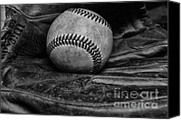 Mlb Major League Baseball Canvas Prints - Baseball broken in black and white Canvas Print by Paul Ward