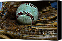 Mlb Major League Baseball Canvas Prints - Baseball broken in Canvas Print by Paul Ward