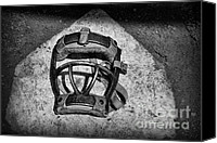 Baseball Art Canvas Prints - Baseball Catchers Mask Vintage in black and white Canvas Print by Paul Ward