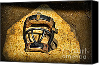 Baseball Art Canvas Prints - Baseball Catchers Mask Vintage  Canvas Print by Paul Ward