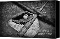 Baseball Canvas Prints - Baseball Home Plate in black and white Canvas Print by Paul Ward