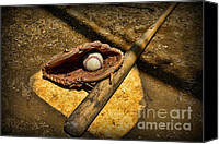 Homerun Canvas Prints - Baseball Home Plate Canvas Print by Paul Ward