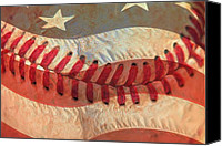 American Flag Special Promotions - Baseball Is Sewn Into The Fabric Canvas Print by Heidi Smith