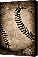 Mlb Canvas Prints - Baseball old and worn Canvas Print by Paul Ward