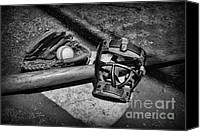 Baseball Art Canvas Prints - Baseball Play Ball in black and white Canvas Print by Paul Ward