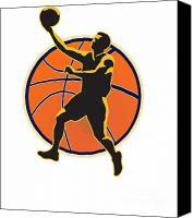Player Canvas Prints - Basketball Player Lay Up Ball Canvas Print by Aloysius Patrimonio
