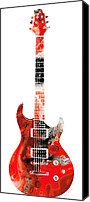 Rock Music Canvas Prints - Bass Guitar - Buy Colorful Abstract Musical Instrument Canvas Print by Sharon Cummings