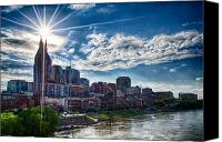 Nashville Skyline Canvas Prints - Bat Signal Canvas Print by Dan Holland