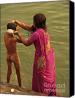 Sari Canvas Prints - Bathing in the Holi Lake. Indian Collection Canvas Print by Jenny Rainbow