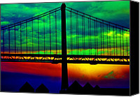 Usa Special Promotions - Bay Bridge Abstract Canvas Print by Aidan Moran